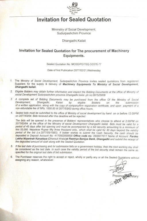 Invitation for Sealed Quotation for the procurement of Machinery Equipments